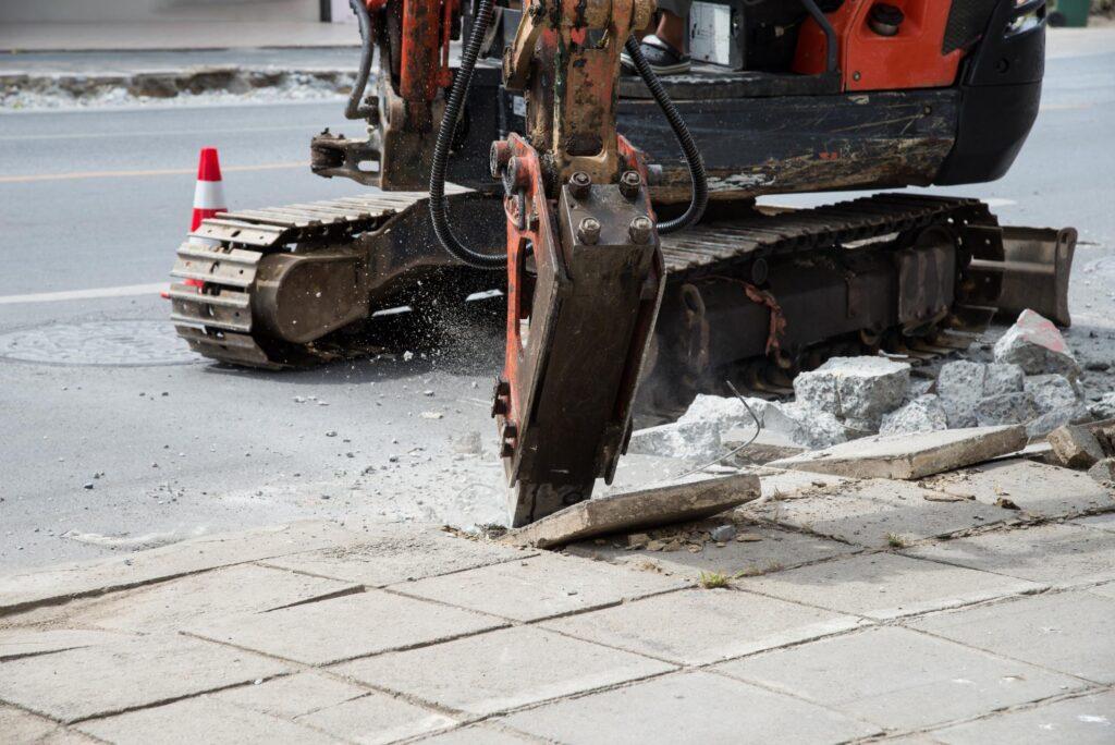 jackhammer truck removing the concrete