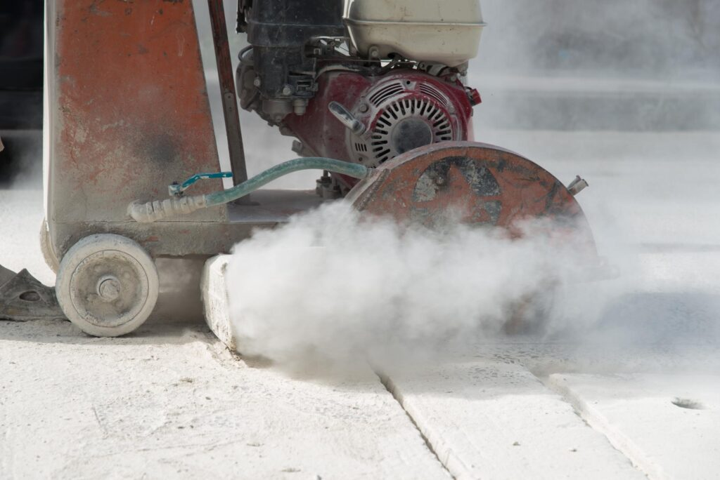 cutting the concrete cement